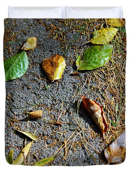 Fallen Leaves Duvet Cover by Carlos Caetano