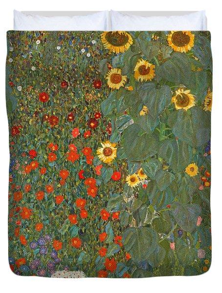 Farm Garden With Sunflowers Duvet Cover by Gustav Klimt