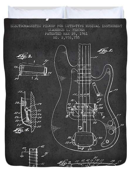 Fender Guitar Patent Drawing from 1961 Duvet Cover by Aged Pixel