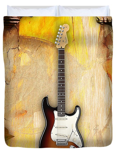 Fender Stratocaster Collection Duvet Cover by Marvin Blaine
