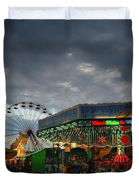 Fireworks At An Amusement Park Duvet Cover by Darren Greenwood