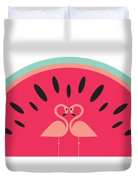 Flamingo Watermelon Duvet Cover by Susan Claire