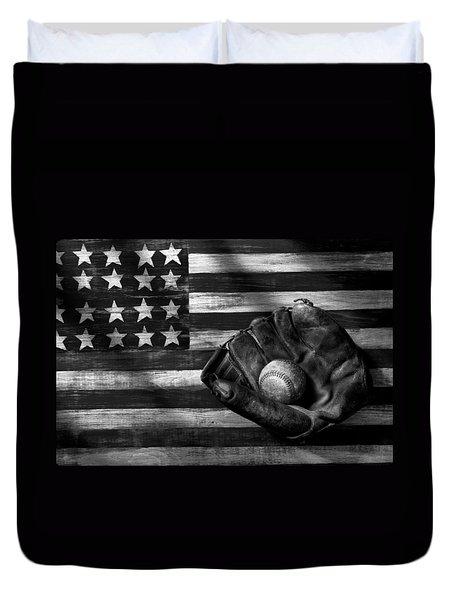 Folk Art American Flag And Baseball Mitt Black And White Duvet Cover by Garry Gay