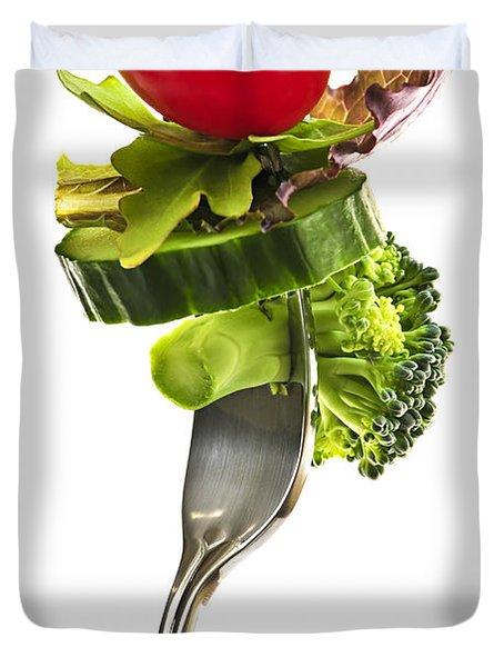 Fresh vegetables on a fork Duvet Cover by Elena Elisseeva
