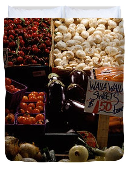Fruits And Vegetables At A Market Duvet Cover by Panoramic Images