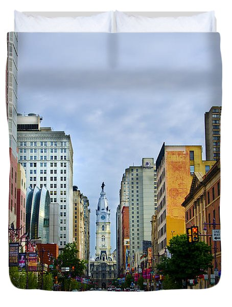 Give My Regards to Broad Street Duvet Cover by Bill Cannon