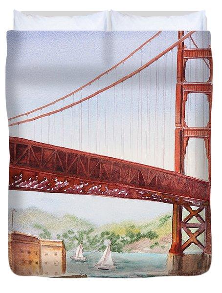 Golden Gate Bridge San Francisco Duvet Cover by Irina Sztukowski