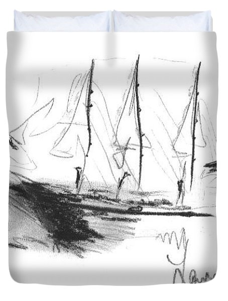 Great Men Sailing Duvet Cover by Laurie D Lundquist