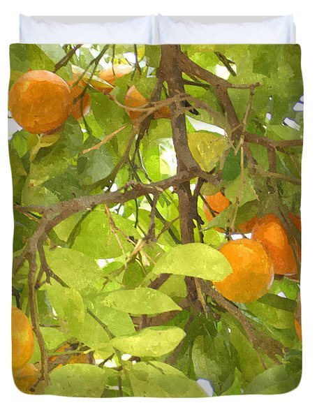 Green Leaves And Mature Oranges On The Tree Duvet Cover by Lanjee Chee
