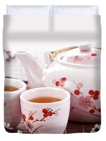 Green Tea Set Duvet Cover by Elena Elisseeva