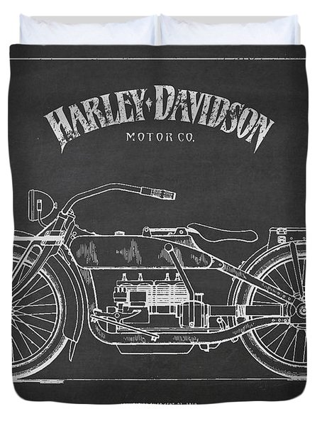 Harley Davidson Motorcycle Patent Drawing From 1919 Duvet Cover by Aged Pixel