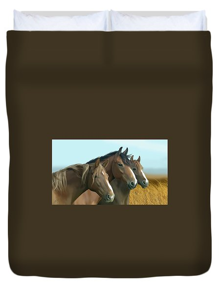Hope Of The Mustangs Duvet Cover by Kate Black