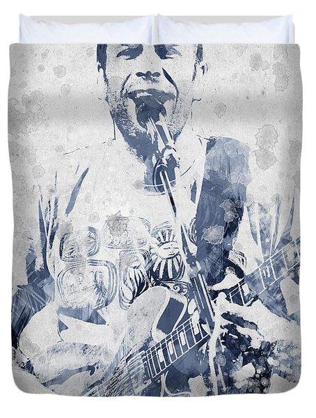 Jack Johnson Portrait Duvet Cover by Aged Pixel