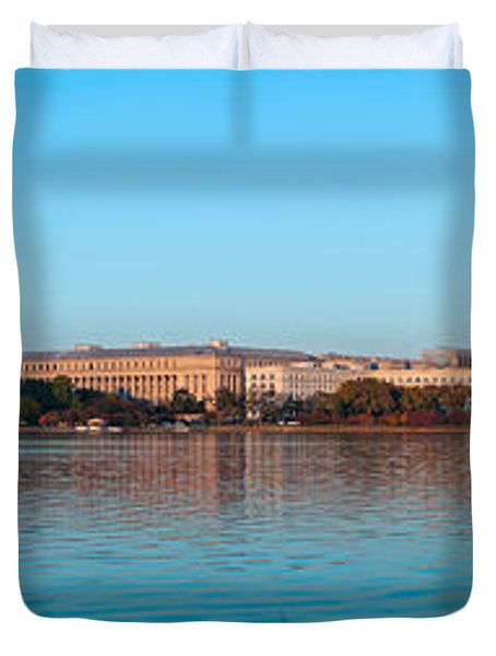Jefferson Memorial And Washington Duvet Cover by Panoramic Images