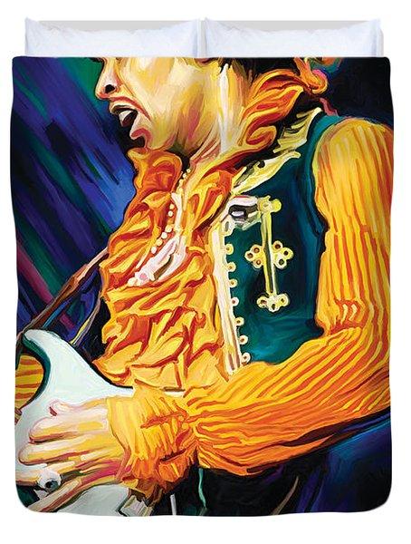 Jimi Hendrix Artwork Duvet Cover by Sheraz A