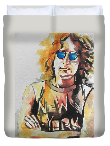 John Lennon 04 Duvet Cover by Chrisann Ellis