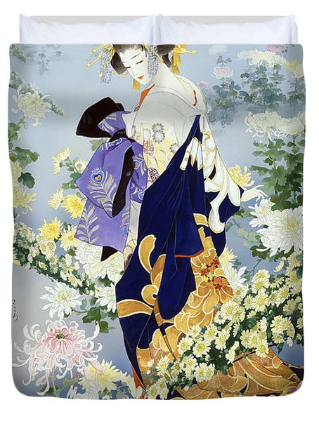 Kiku Duvet Cover by Haruyo Morita