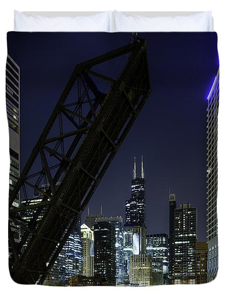 Kinzie Street Railroad Bridge At Night Duvet Cover by Sebastian Musial