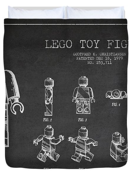 Lego toy Figure Patent Drawing Duvet Cover by Aged Pixel