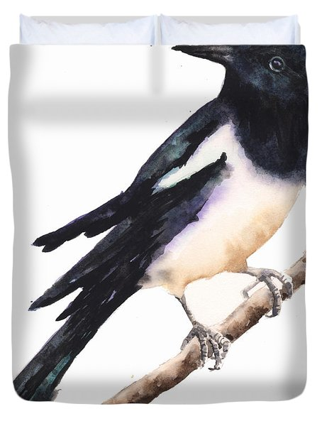 Magpie Painting Duvet Cover by Alison Fennell