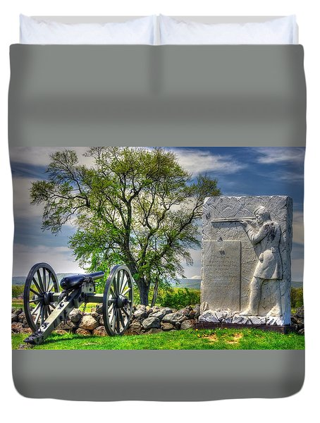 Massachusetts At Gettysburg - 1st Andrews Sharpshooters Unattached Mass. Vol. Infantry Hancock Ave Duvet Cover by Michael Mazaika