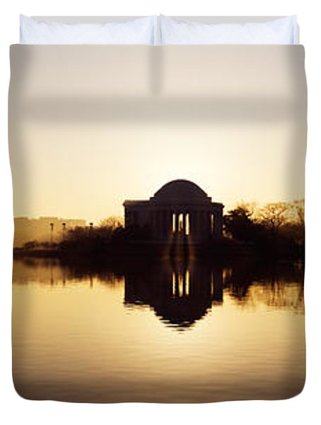 Memorial At The Waterfront, Jefferson Duvet Cover by Panoramic Images