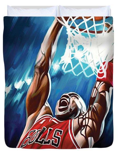 Michael Jordan Artwork Duvet Cover by Sheraz A