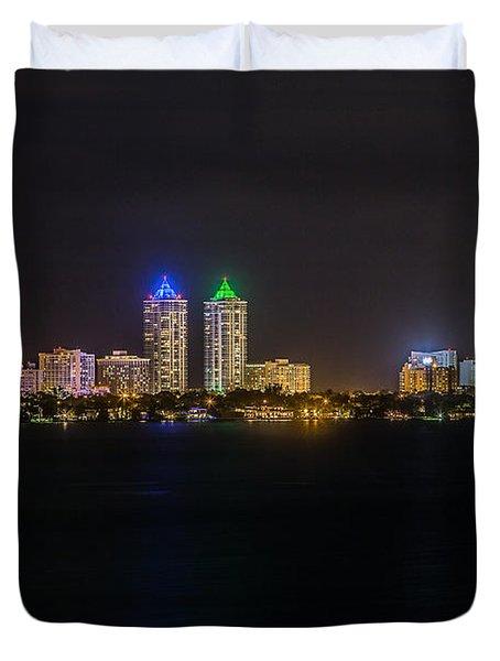 Millionaire's Row Miami Beach Skyline Duvet Cover by Rene Triay Photography