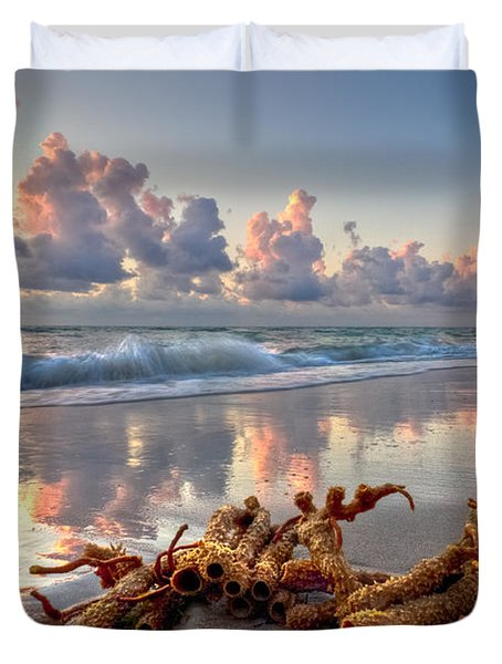 Morning Surf Duvet Cover by Debra and Dave Vanderlaan