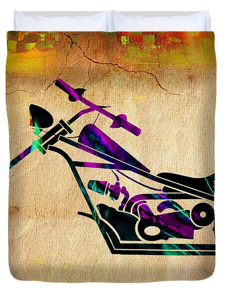 Motorcycle Chopper Duvet Cover by Marvin Blaine
