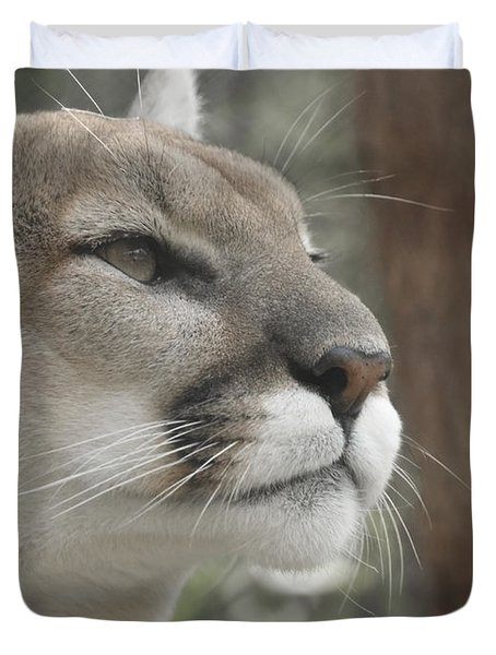 Mountain Lion Duvet Cover by Ernie Echols