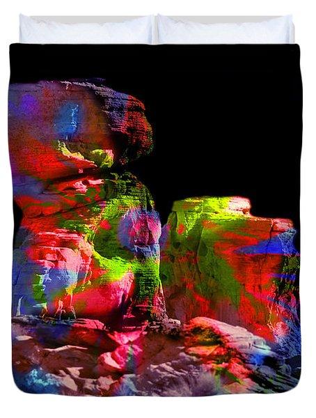 Mushroom Rock Duvet Cover by Gunter Nezhoda