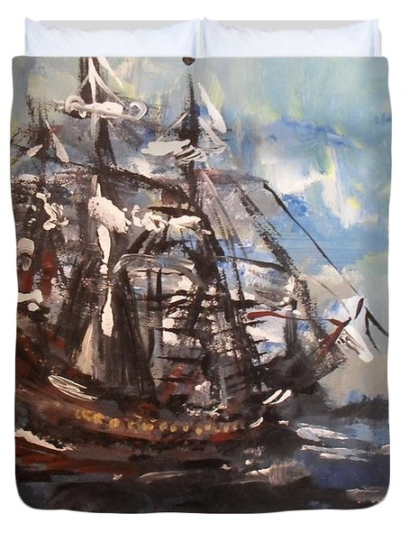 My Ship Duvet Cover by Laurie D Lundquist