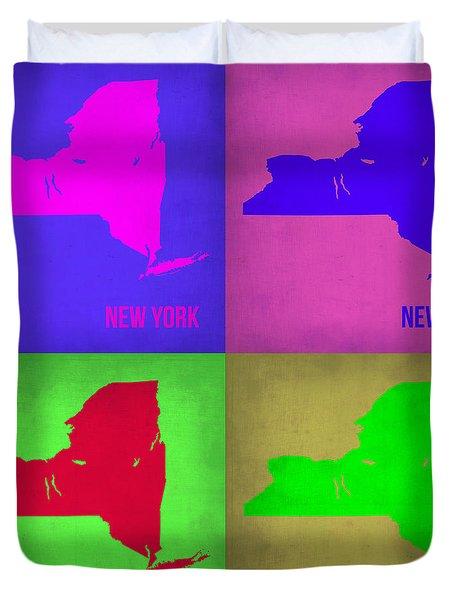 New York Pop Art Map 1 Duvet Cover by Naxart Studio