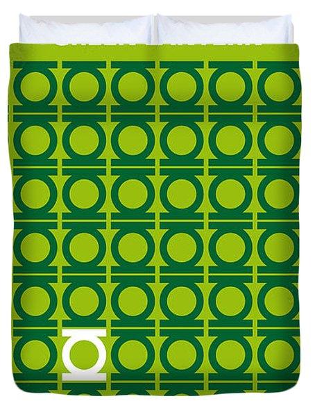 No120 My Green Lantern Minimal Movie Poster Duvet Cover by Chungkong Art