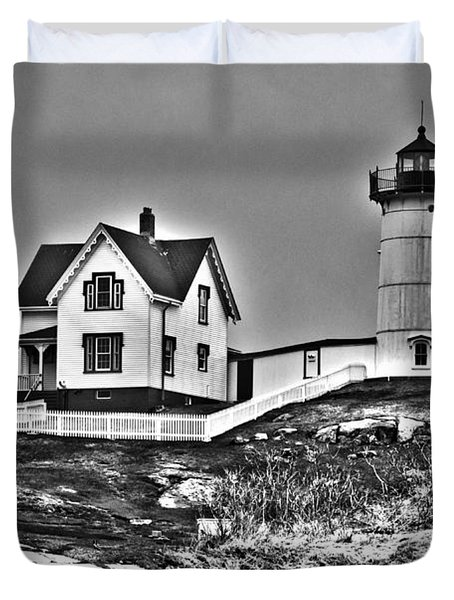 Nubble Lighthouse Cape Neddick Maine Duvet Cover by Glenn Gordon