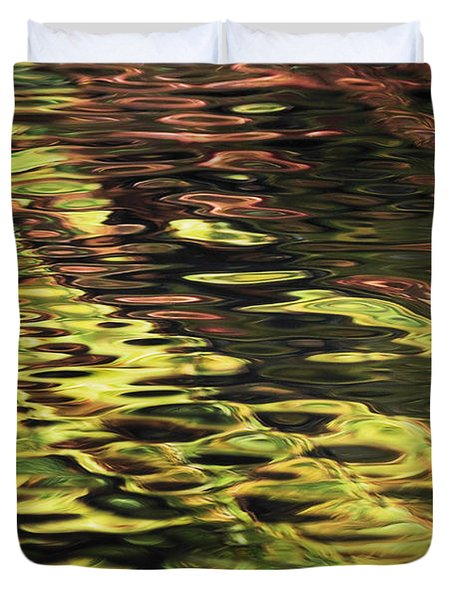 Oak And Maple Trees Reflections In Duvet Cover by Thomas Kitchin & Victoria Hurst