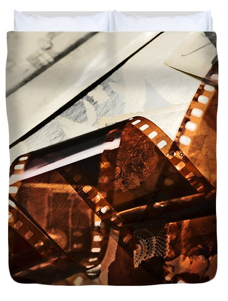 Old film strip and photos background Duvet Cover by Michal Bednarek