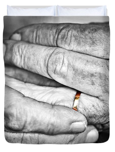 Old Hands With Wedding Band Duvet Cover by Elena Elisseeva
