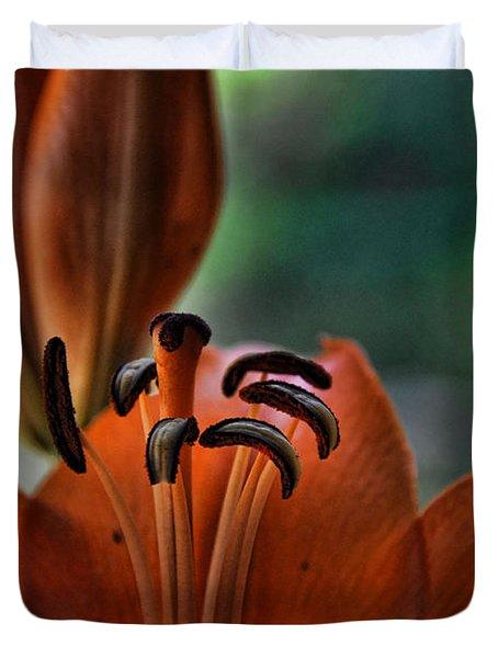 Orange Lilly Duvet Cover by Saija  Lehtonen
