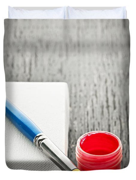 Paintbrush on canvas Duvet Cover by Elena Elisseeva