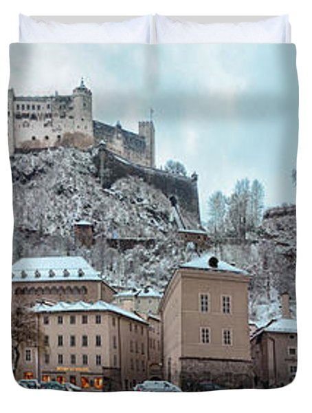 Panorama Of Salzburg In The Winter Duvet Cover by Sabine Jacobs