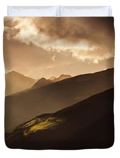 Panoramic View Of Dolomite Alps Duvet Cover by Evgeny Kuklev