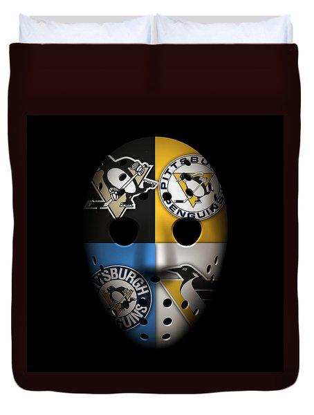 Penguins Goalie Mask Duvet Cover by Joe Hamilton