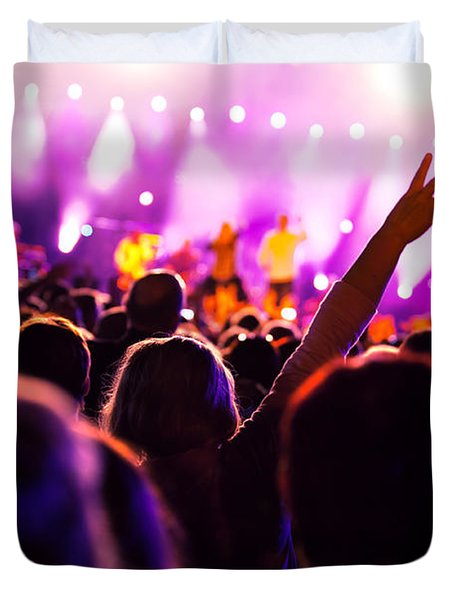 People On Music Concert Duvet Cover by Michal Bednarek