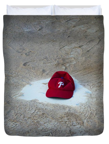 Phillies Home Plate Duvet Cover by Bill Cannon