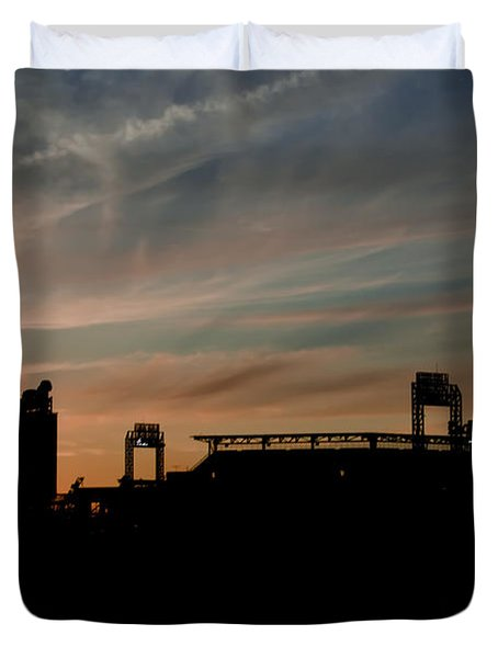 Phillies Stadium at Dawn Duvet Cover by Bill Cannon