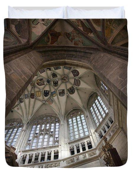 pointed vault of Saint Barbara church Duvet Cover by Michal Boubin