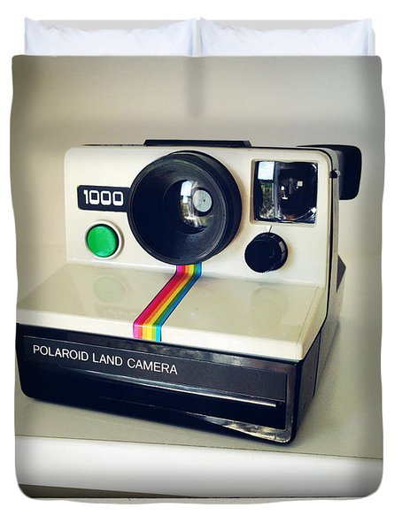 Polaroid Camera.  Duvet Cover by Les Cunliffe