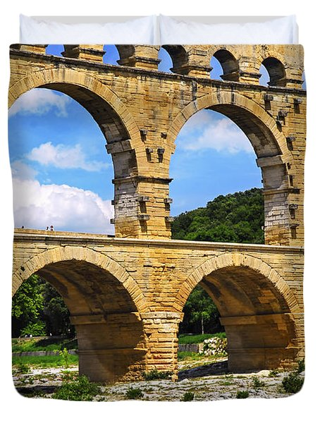 Pont Du Gard In Southern France Duvet Cover by Elena Elisseeva